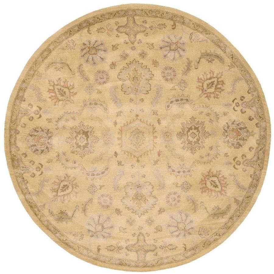Nourison Jaipur Light Yellow Rectangular Indoor Handcrafted Area Rug (Common: 8 x 8; Actual: 8-ft W x 8-ft L x 0.75-ft dia)