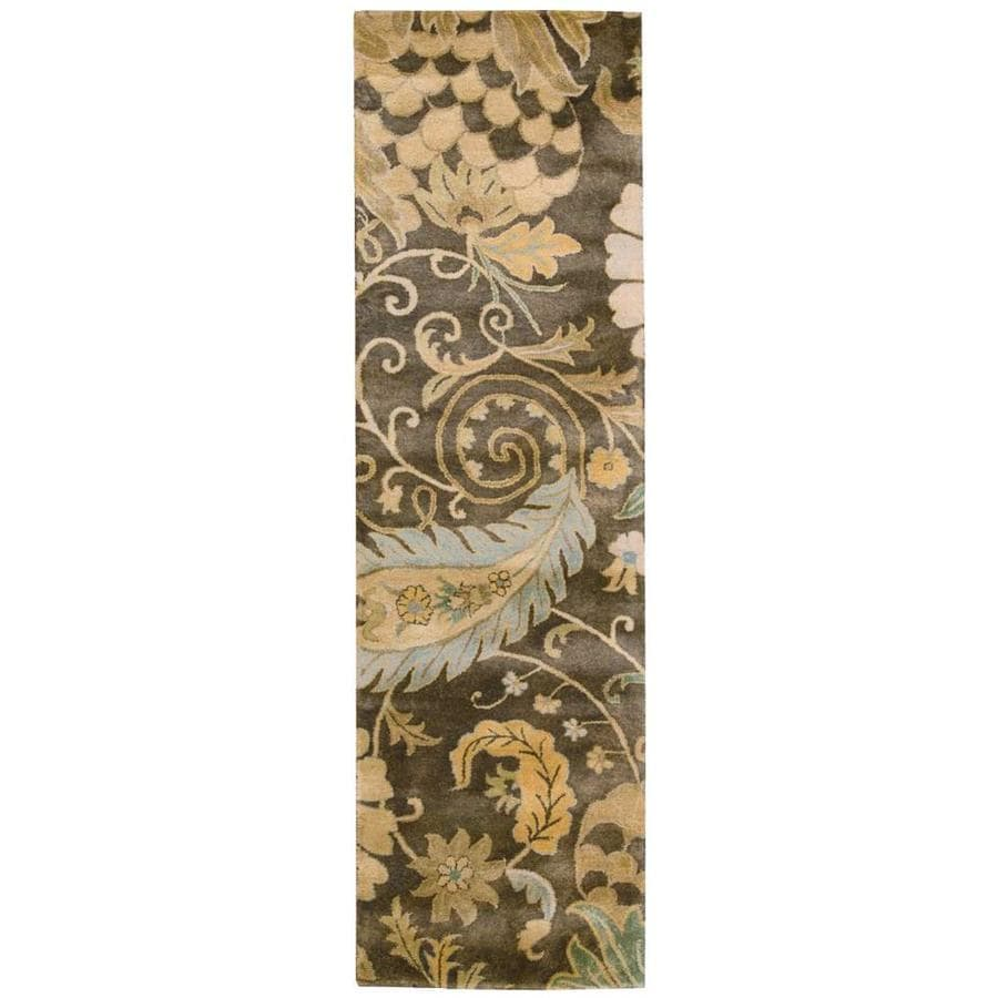 Nourison Jaipur Moss Rectangular Indoor Handcrafted Area Rug (Common: 2 x 8; Actual: 2.33-ft W x 8-ft L x 0.75-ft dia)