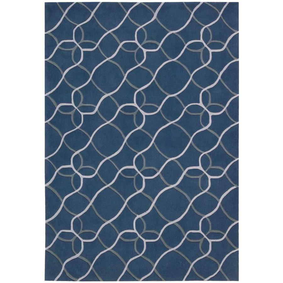 Nourison CONTOUR Denim  Indoor Handcrafted Geometric Area Rug (Common: 7 x 9; Actual: 7-ft W x 9-ft L)