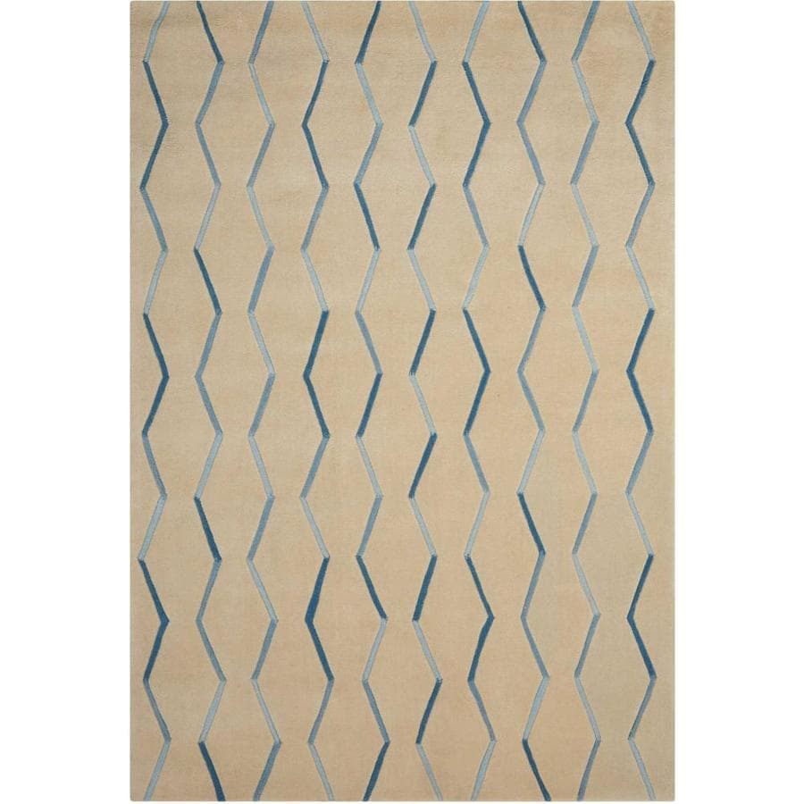Nourison Contour Ivory Rectangular Indoor Handcrafted Area Rug (Common: 3 x 5; Actual: 3.5-ft W x 5.5-ft L x 0.5-ft dia)