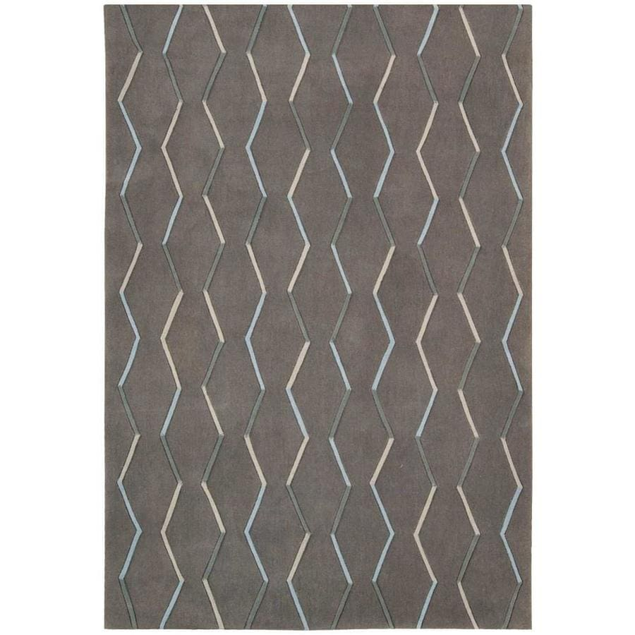 Nourison Contour Charcoal Rectangular Indoor Handcrafted Area Rug (Common: 3 x 5; Actual: 3.5-ft W x 5-ft L x 0.5-ft dia)