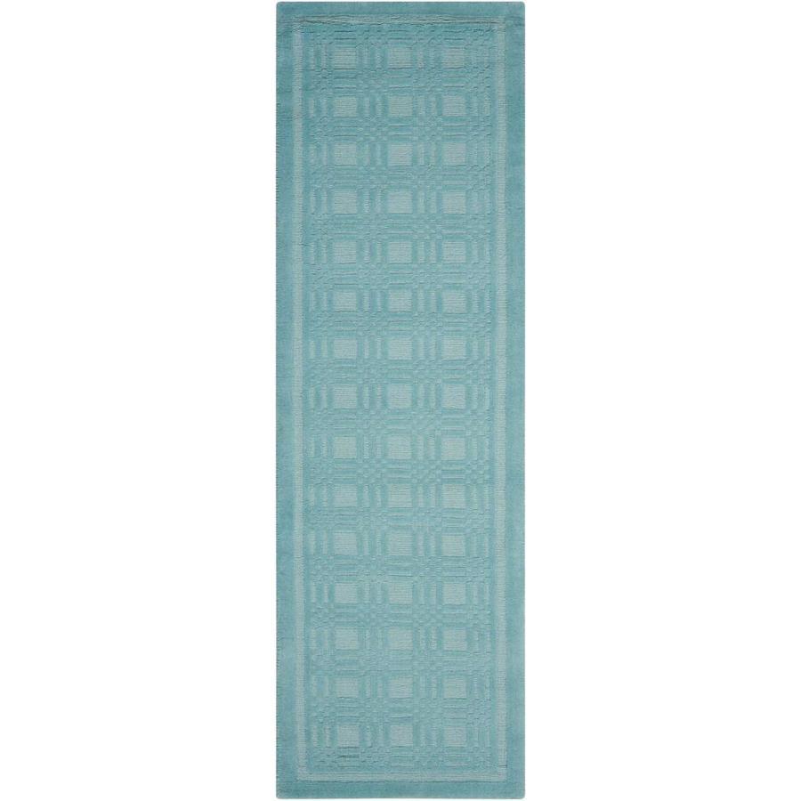 Nourison Westport Aqua Rectangular Indoor Handcrafted Area Rug (Common: 2 x 7; Actual: 2.25-ft W x 7.5-ft L x 0.5-ft dia)