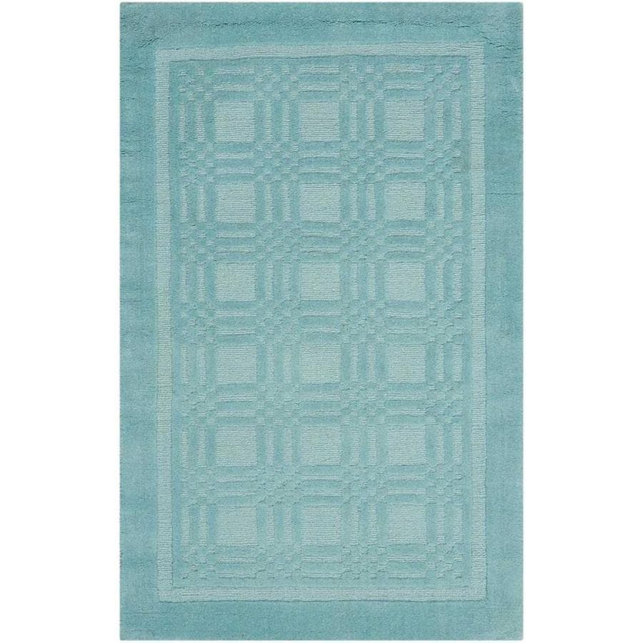 Nourison Westport Aqua Rectangular Indoor Handcrafted Area Rug (Common: 3 x 5; Actual: 3.5-ft W x 5.5-ft L x 0.5-ft dia)