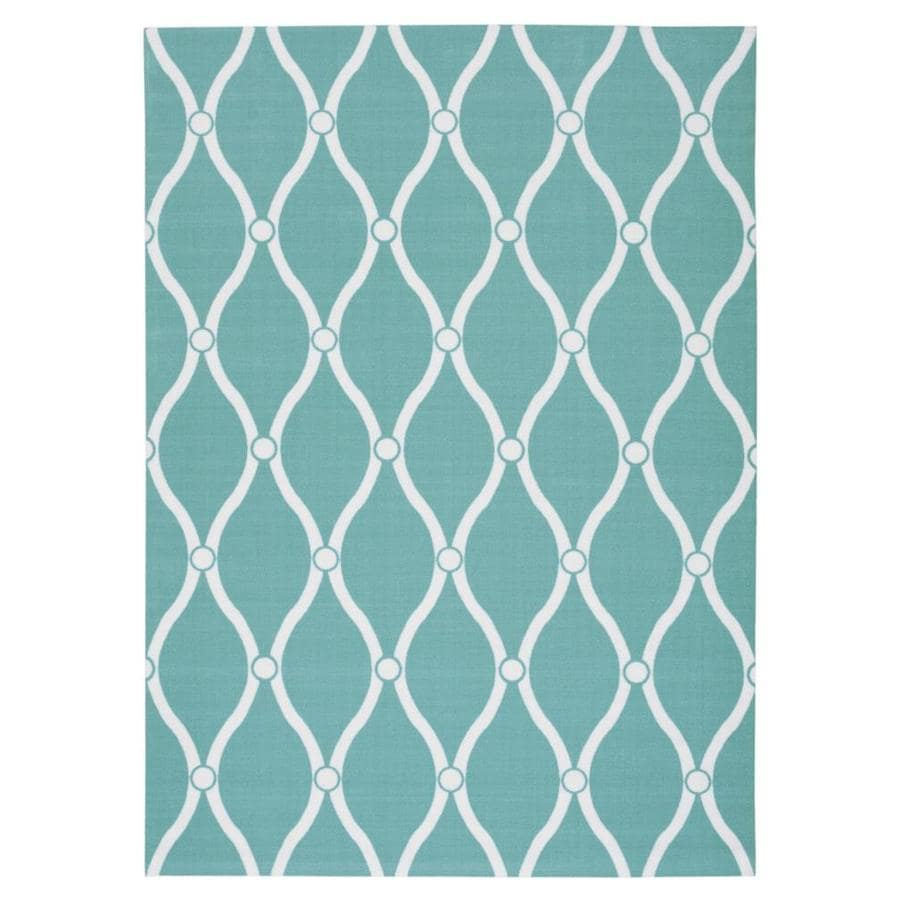 Nourison Home and Garden Aqua Rectangular Indoor/Outdoor Machine-Made Novelty Area Rug (Common: 10 x 14; Actual: 10-ft W x 13-ft L)