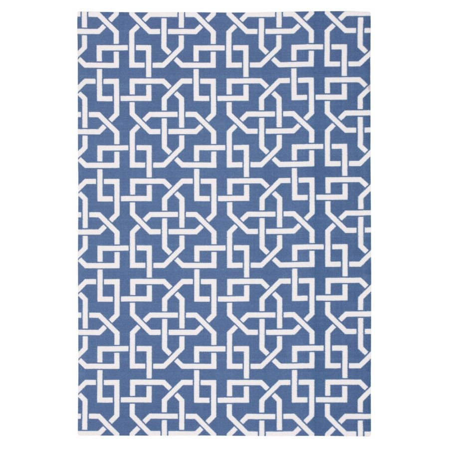 Home and Garden Home and Garden Navy Rectangular Indoor/Outdoor Machine-Made Novelty Area Rug (Common: 5 x 7; Actual: 5.3-ft W x 7.5-ft L)