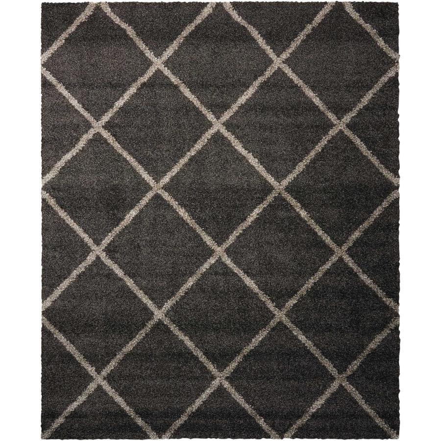 Nourison Brisbane Charcoal Rectangular Indoor Area Rug (Common: 8 x 11; Actual: 8.17-ft W x 10-ft L x 1-ft dia)