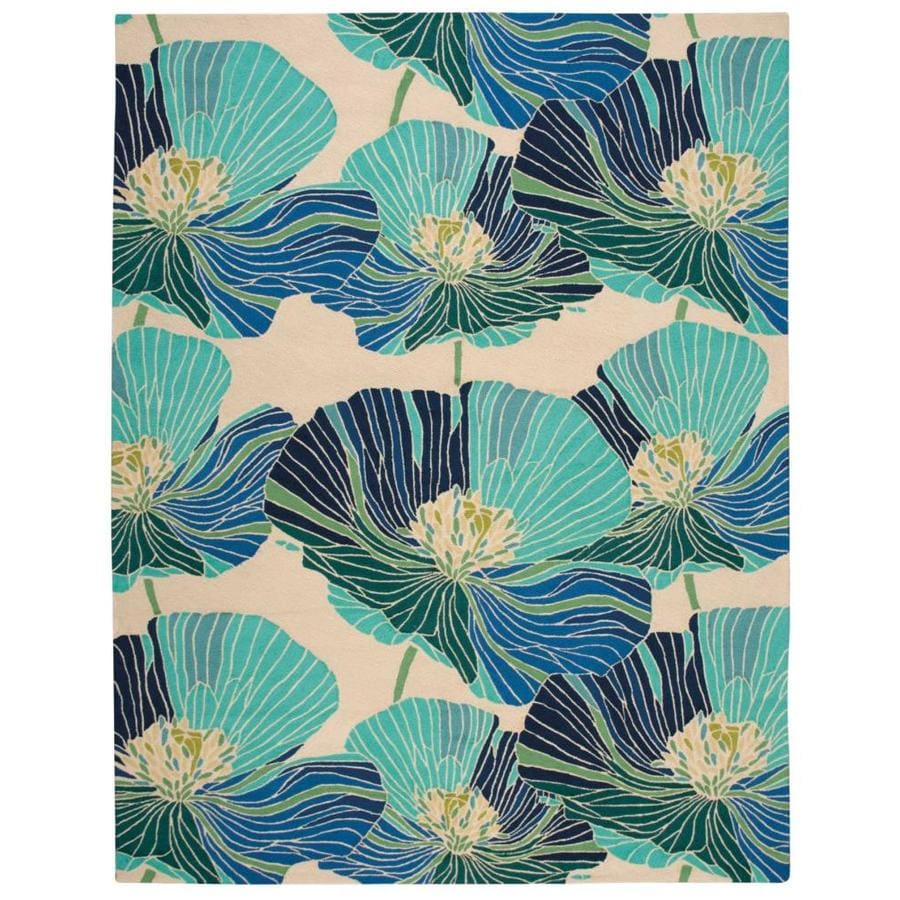 Nourison Fantasy Ivory/Aqua Handcrafted Area Rug (Common: 8 x 10; Actual: 8-ft W x 10.5-ft L)