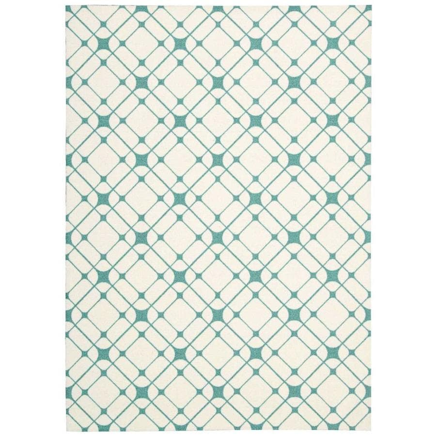 Nourison Enhance Ivory/Turquoise Area Rug (Common: 8 x 10; Actual: 8-ft W x 10-ft L)