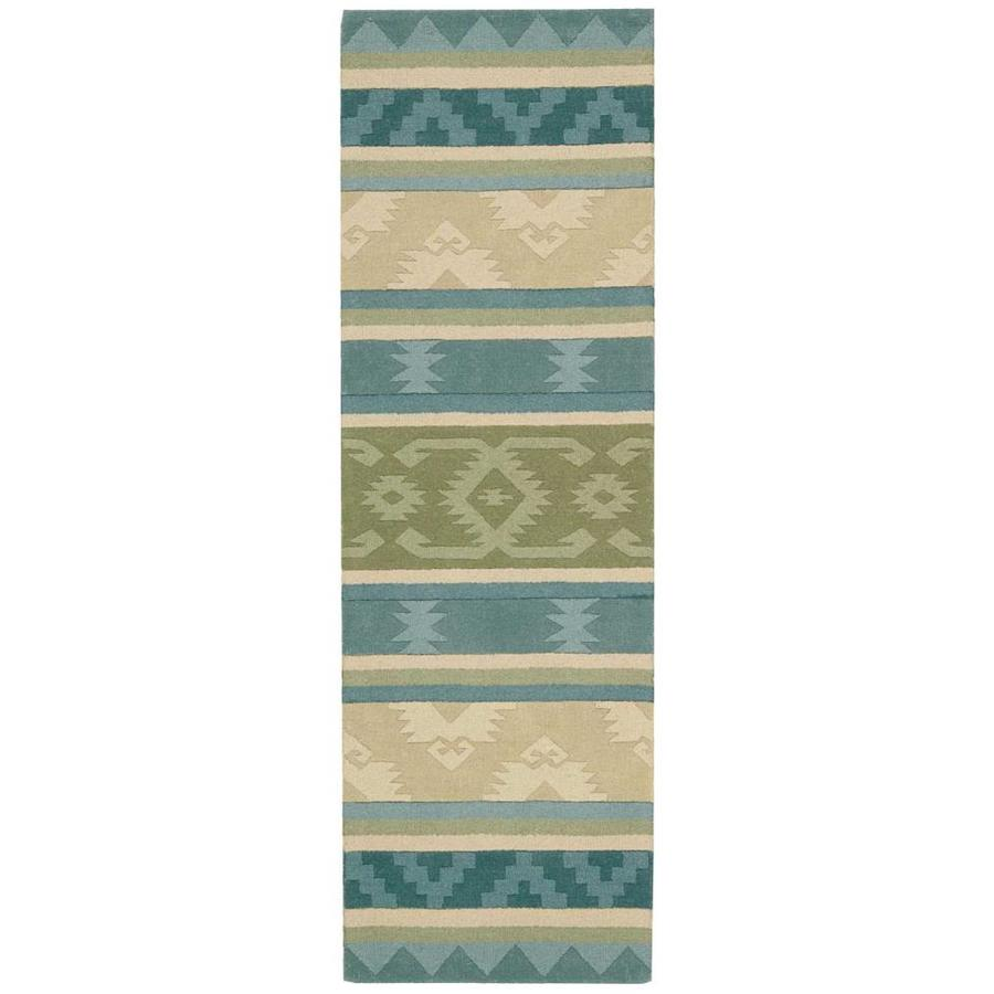 Nourison India House Blue Green Rectangular Indoor Handcrafted Area Rug (Common: 2 x 7; Actual: 2.25-ft W x 7.5-ft L x 0.5-ft dia)