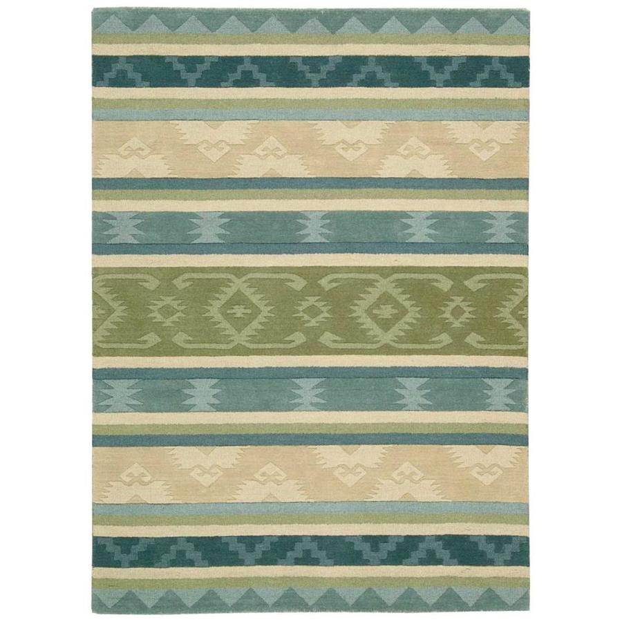 Nourison India House Blue Green Indoor Handcrafted Area Rug (Common: 3 x 5; Actual: 3.5-ft W x 5.5-ft L)