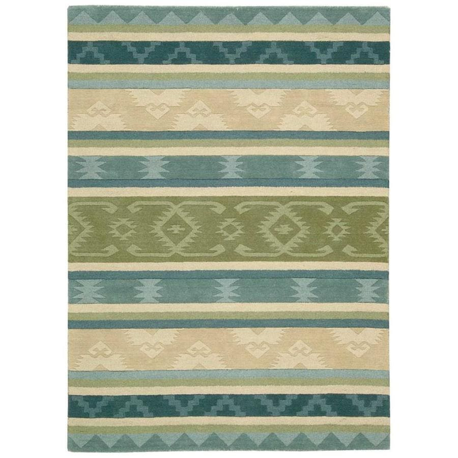 Nourison India House Blue Green Handcrafted Area Rug (Common: 8 x 10; Actual: 8-ft W x 10.5-ft L)