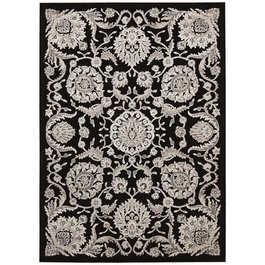 Nourison Graphic Illusions Black Rectangular Indoor Area Rug (Common: 5 x 7; Actual: 5.25-ft W x 7.42-ft L x 0.5-ft dia)