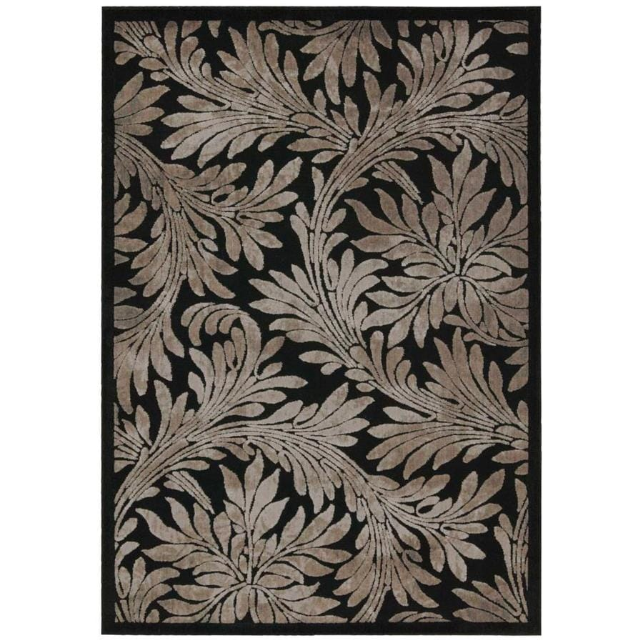 Nourison Graphic Illusions Black Rectangular Indoor Area Rug (Common: 3 x 5; Actual: 3.5-ft W x 5.5-ft L x 0.5-ft dia)