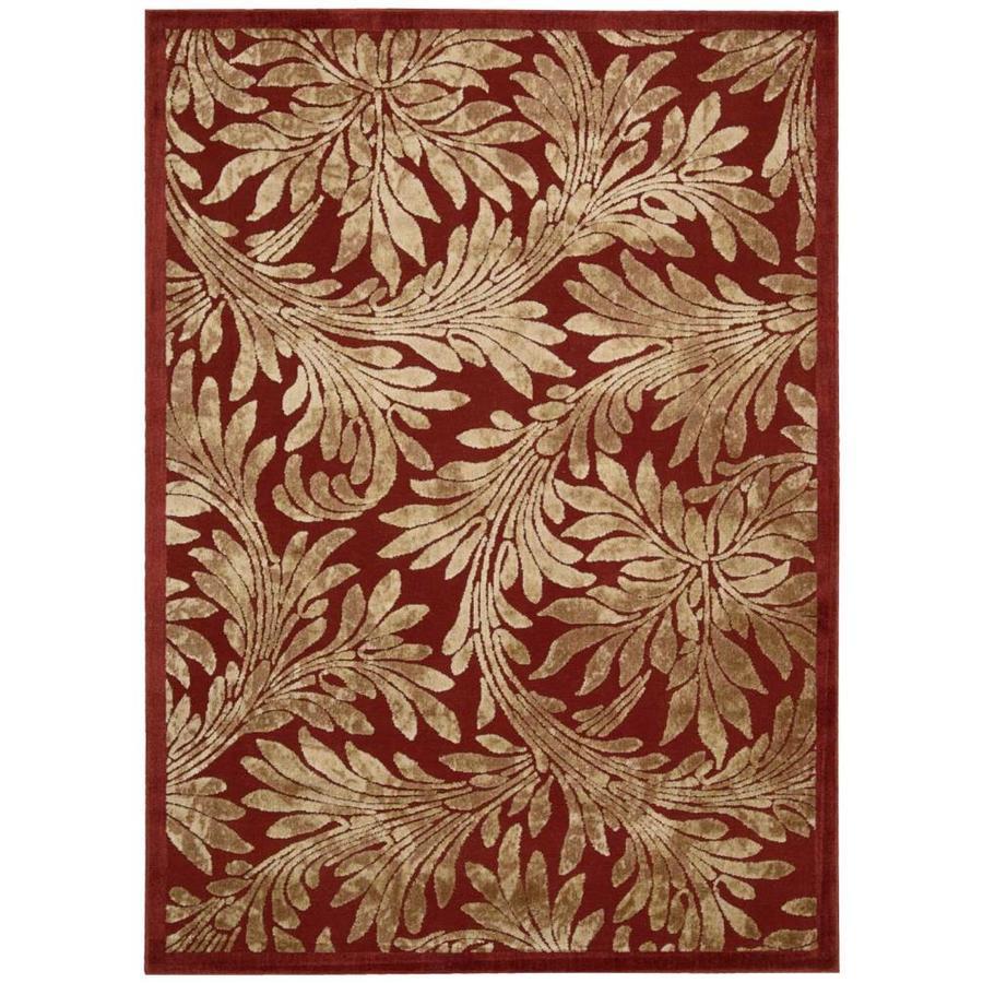 Nourison Graphic Illusions Red Rectangular Indoor Area Rug (Common: 5 x 7; Actual: 5.25-ft W x 7.42-ft L x 0.5-ft dia)