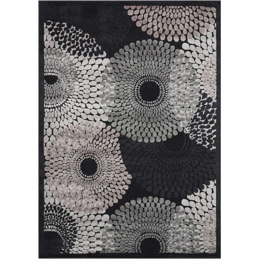 Nourison Graphic Illusions Black Rectangular Indoor Area Rug (Common: 2 x 4; Actual: 2.25-ft W x 3-ft L x 0.5-ft dia)