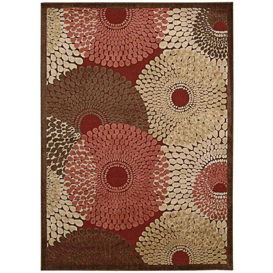 Nourison Graphic Illusions Red Indoor Area Rug (Common: 5 x 7; Actual: 5.25-ft W x 7.4167-ft L)