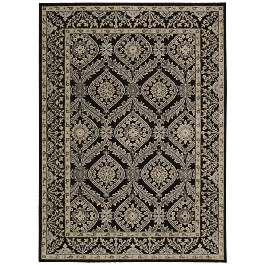 Nourison Graphic Illusions Black Rectangular Indoor Area Rug (Common: 5 x 7; Actual: 5.25-ft W x 7.42-ft L x 0.5-ft dia)