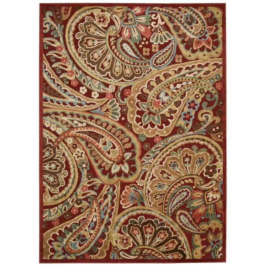 Nourison Graphic Illusions Red Indoor Area Rug (Common: 5 x 7; Actual: 5.25-ft W x 7.42-ft L x 0.5-ft dia)