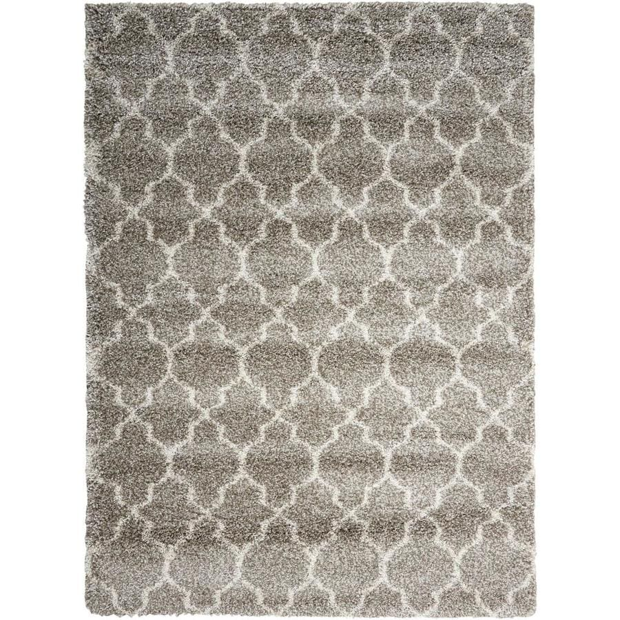 Nourison Amore Stone Rectangular Indoor Area Rug (Common: 5 x 7; Actual: 5.25-ft W x 7.42-ft L x 1.5-ft dia)