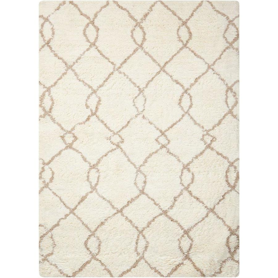 Nourison Galway Ivory/Tan Rectangular Indoor Handcrafted Area Rug (Common: 5 x 8; Actual: 5-ft W x 7-ft L x 1.5-ft dia)