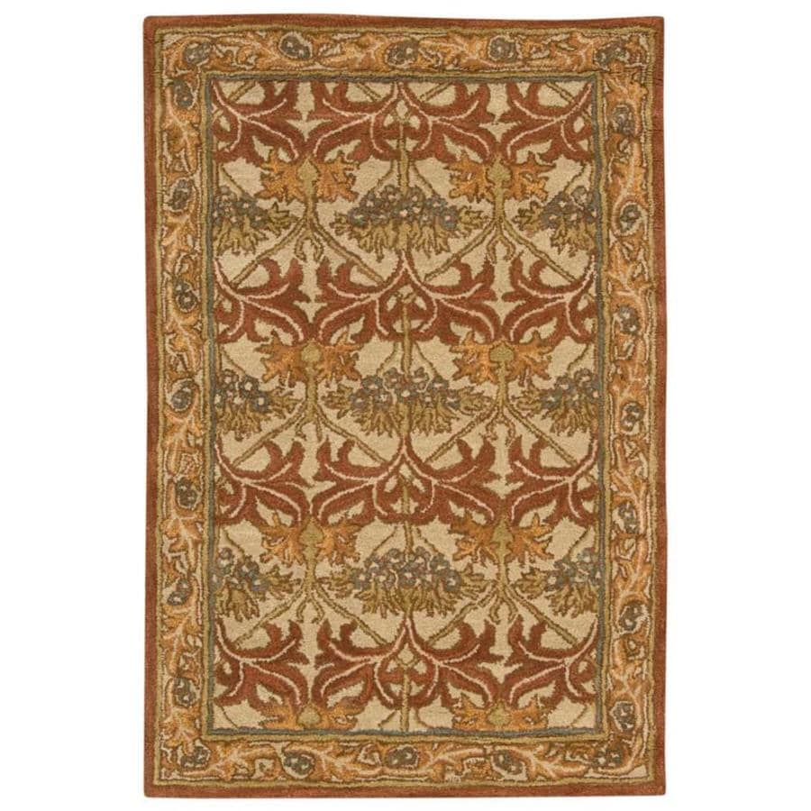 Nourison India House Beige Rectangular Indoor Handcrafted Area Rug (Common: 3 x 4; Actual: 2.5-ft W x 4-ft L x 0.5-ft dia)