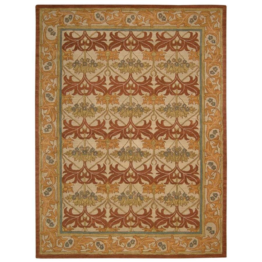 Nourison India House Beige Rectangular Indoor Handcrafted Area Rug (Common: 8 x 10; Actual: 8-ft W x 10-ft L x 0.5-ft dia)