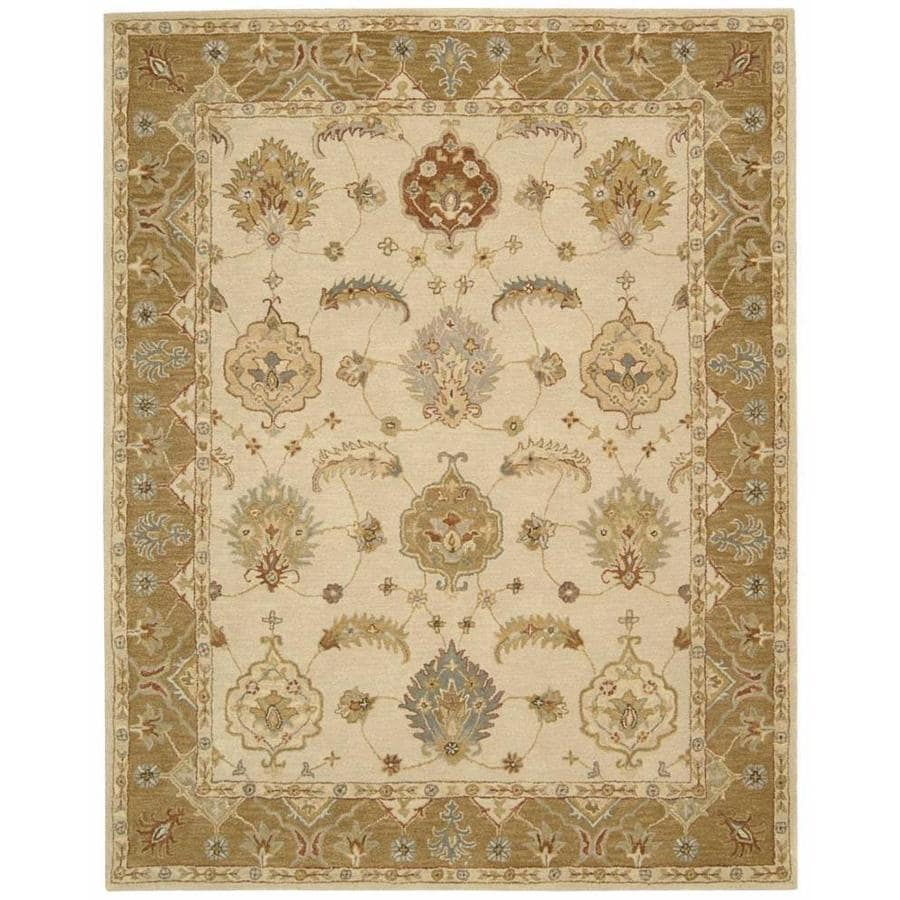 Nourison India House Ivory/Gold Indoor Handcrafted Area Rug (Common: 8 x 10; Actual: 8-ft W x 10.5-ft L x 0.5-ft dia)