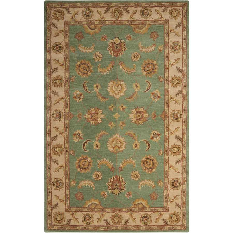 Nourison India House Seafoam Indoor Handcrafted Area Rug (Common: 3 x 5; Actual: 3.5-ft W x 5.5-ft L)
