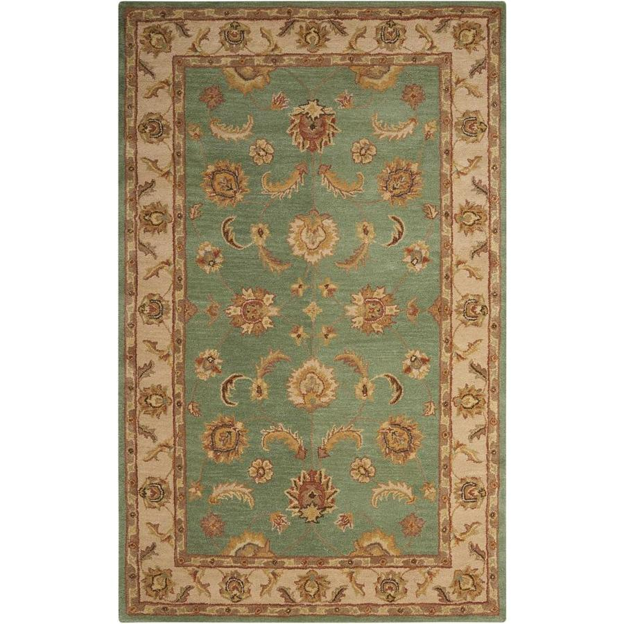Nourison India House Seafoam Rectangular Indoor Handcrafted Area Rug (Common: 5 x 8; Actual: 5-ft W x 8-ft L x 0.5-ft dia)