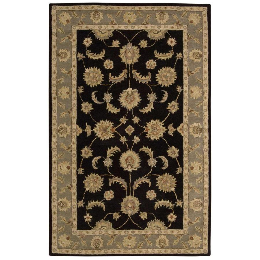 Nourison India House Black Indoor Handcrafted Area Rug (Common: 5 x 8; Actual: 5-ft W x 8-ft L)