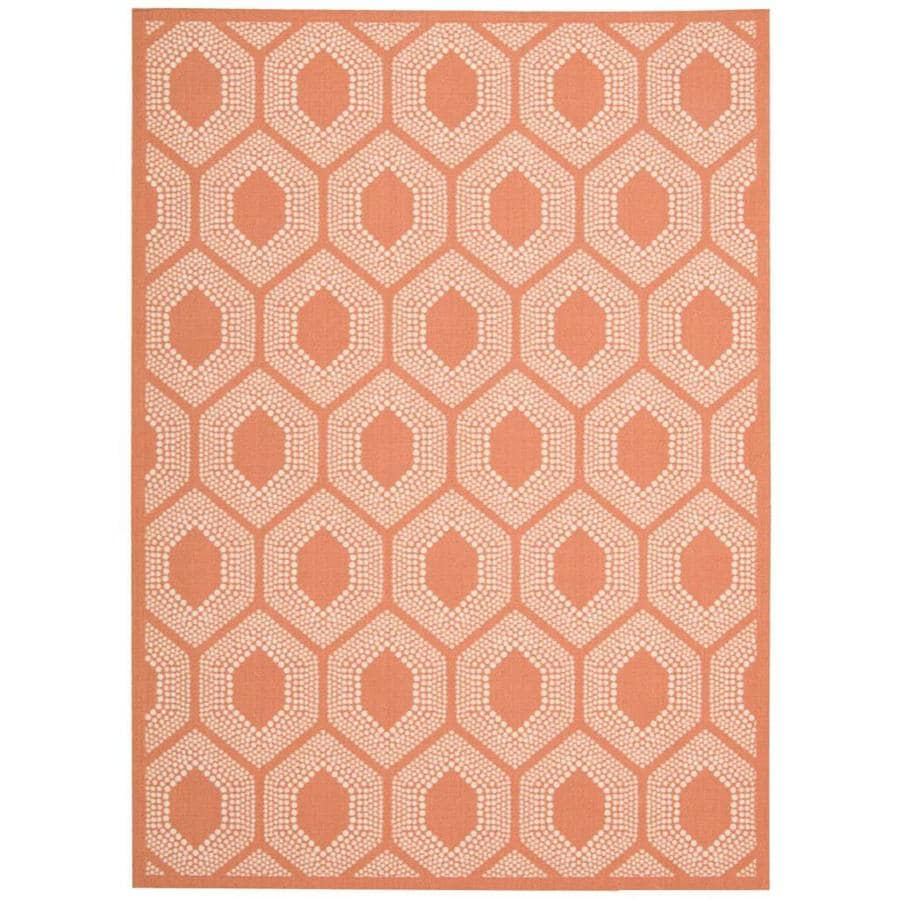 Nourison Wav01/Sun and Shade Tangerine Rectangular Indoor/Outdoor Area Rug (Common: 8 x 10; Actual: 7.75-ft W x 10.83-ft L x 0.25-ft dia)
