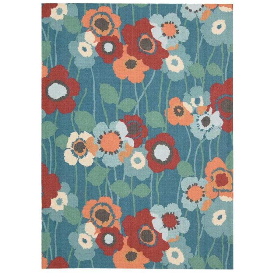 Waverly Sun and Shade Blue Bell Rectangular Indoor/Outdoor Machine-Made Nature Area Rug (Common: 8 x 10; Actual: 7.9-ft W x 10.1-ft L)