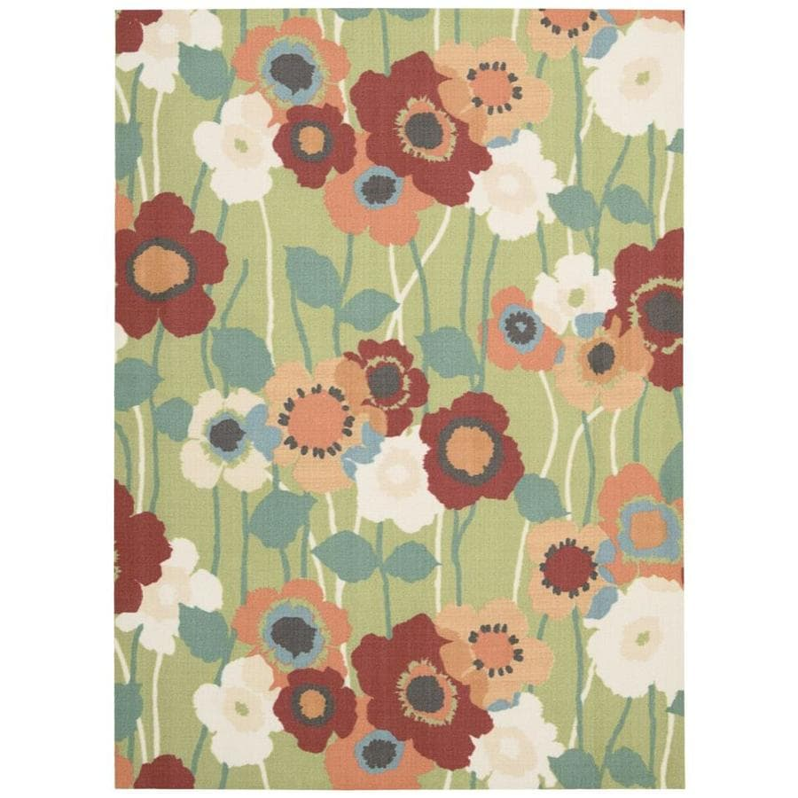 Waverly Sun and Shade Sea Glass Rectangular Indoor/Outdoor Machine-Made Nature Area Rug (Common: 10 x 14; Actual: 10-ft W x 13-ft L)