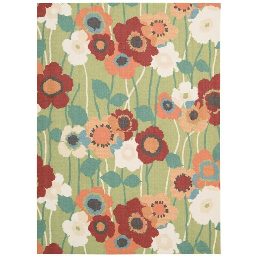 Waverly Sun and Shade Seaglass Rectangular Indoor/Outdoor Machine-Made Area Rug (Common: 7 x 10; Actual: 93-in W x 130-in L)