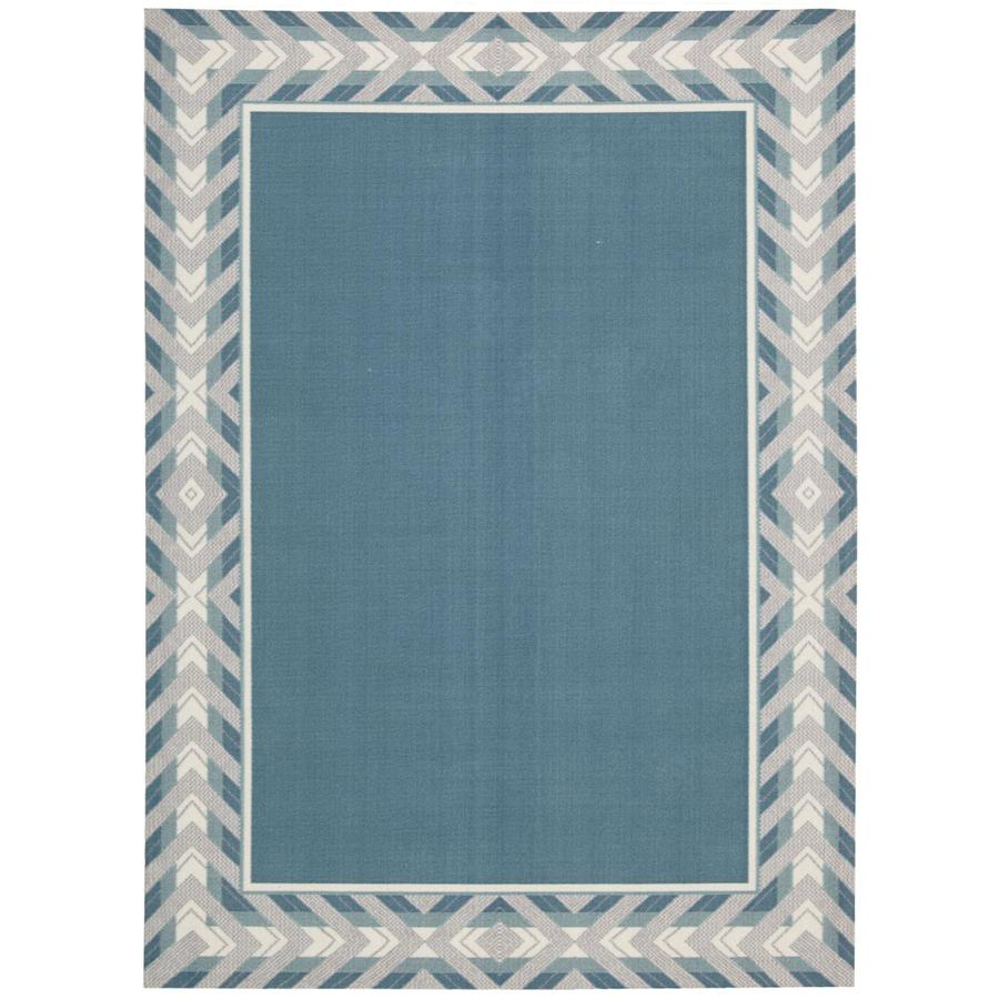 Waverly Sun and Shade Delft Rectangular Indoor/Outdoor Machine-Made Area Rug (Common: 7 x 10; Actual: 93-in W x 130-in L)