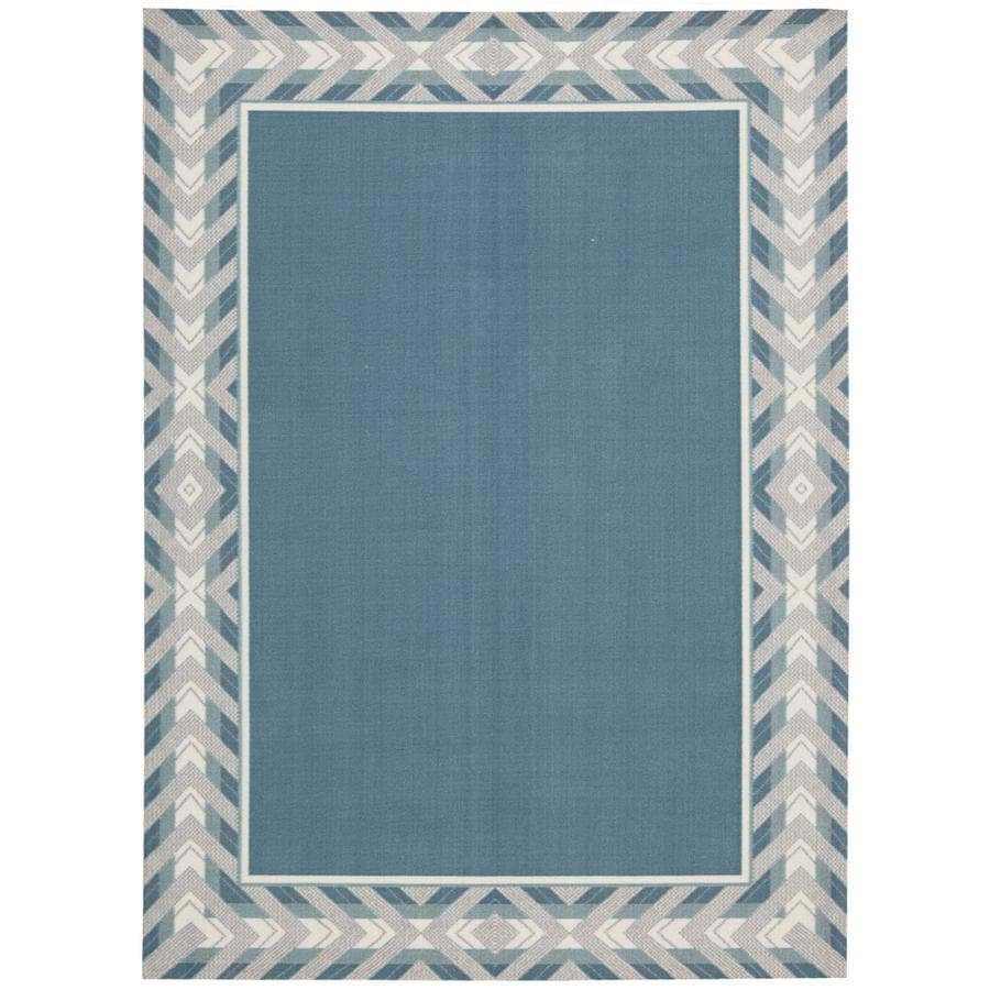 Waverly Sun and Shade Delft Rectangular Indoor/Outdoor Machine-Made Area Rug (Common: 10 x 13; Actual: 120-in W x 156-in L)