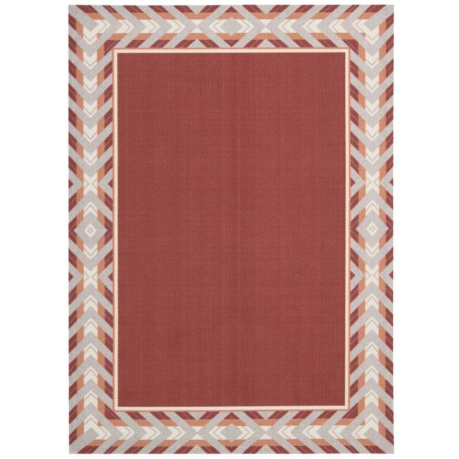 Waverly Sun and Shade Poppy Rectangular Indoor/Outdoor Machine-Made Area Rug (Common: 10 x 13; Actual: 120-in W x 156-in L)