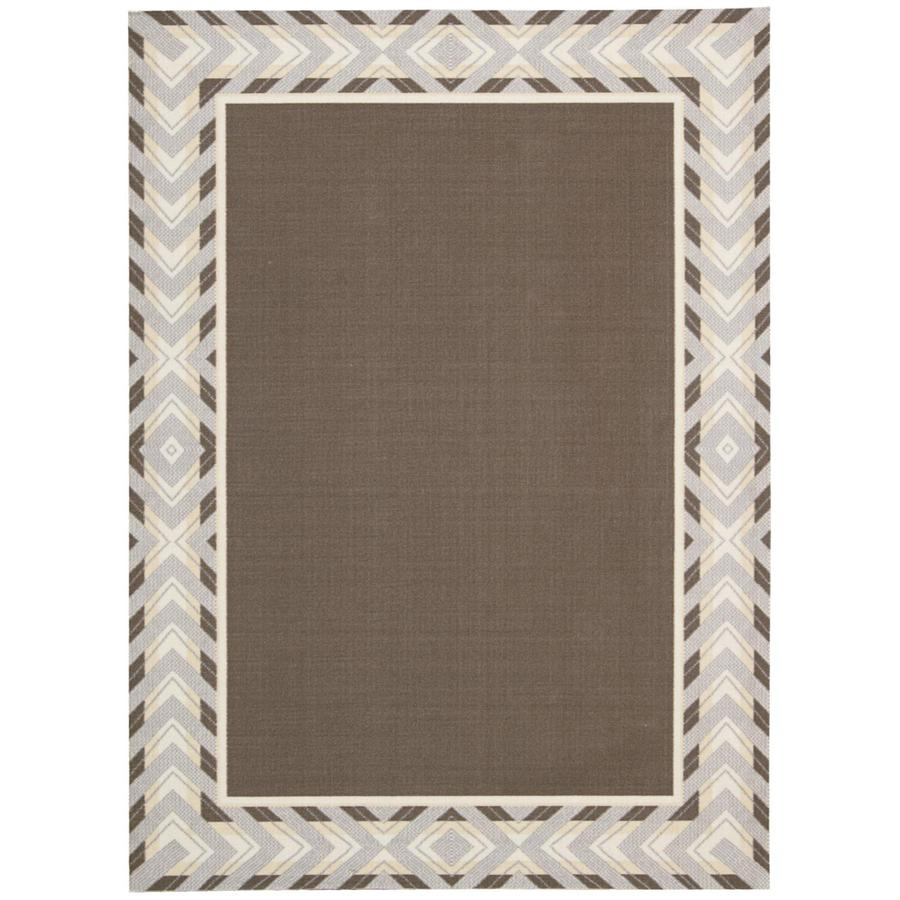 Waverly Sun and Shade Espresso Rectangular Indoor/Outdoor Machine-Made Area Rug (Common: 7 x 10; Actual: 93-in W x 130-in L)