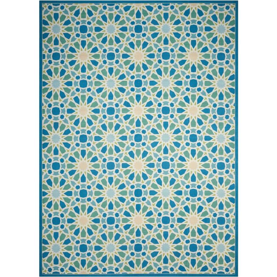 Waverly Sun and Shade Porcelain Rectangular Indoor/Outdoor Machine-Made Novelty Area Rug (Common: 8 x 10; Actual: 7.9-ft W x 10.1-ft L)