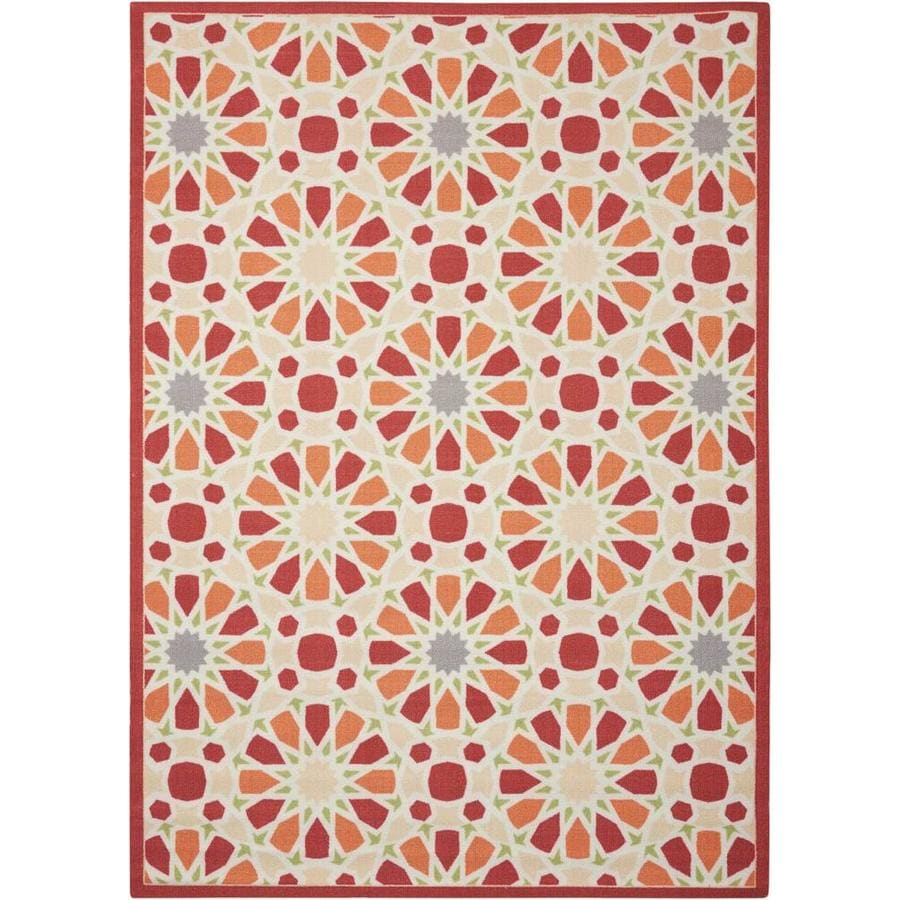 Waverly Sun and Shade Flamingo Rectangular Indoor/Outdoor Machine-Made Novelty Area Rug (Common: 8 x 10; Actual: 7.9-ft W x 10.1-ft L)