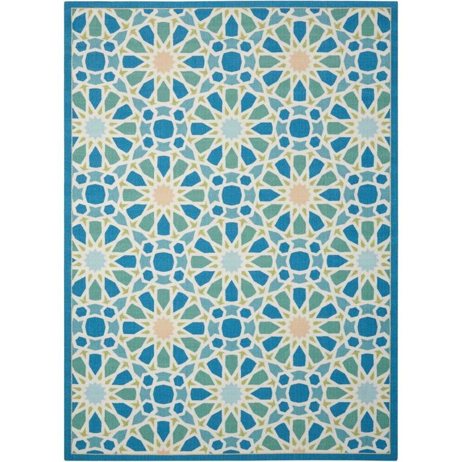 Waverly Sun and Shade Porcelain Rectangular Indoor/Outdoor Machine-Made Novelty Area Rug (Common: 5 x 7; Actual: 5.3-ft W x 7.5-ft L)