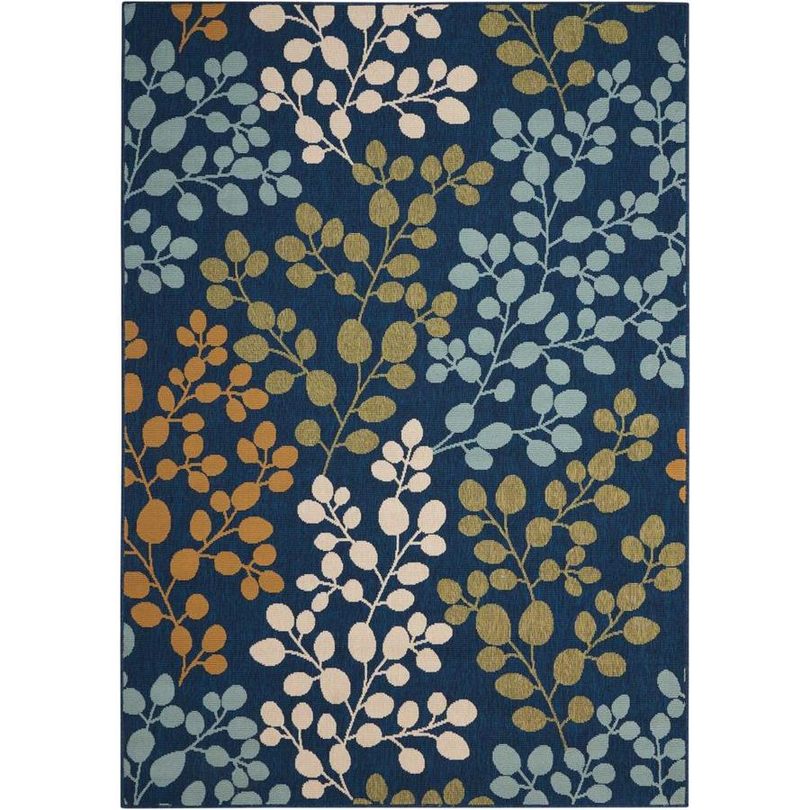 Nourison Caribbean Navy Rectangular Indoor/Outdoor Area Rug (Common: 3 x 5; Actual: 3.92-ft W x 5.92-ft L x 0.25-ft dia)