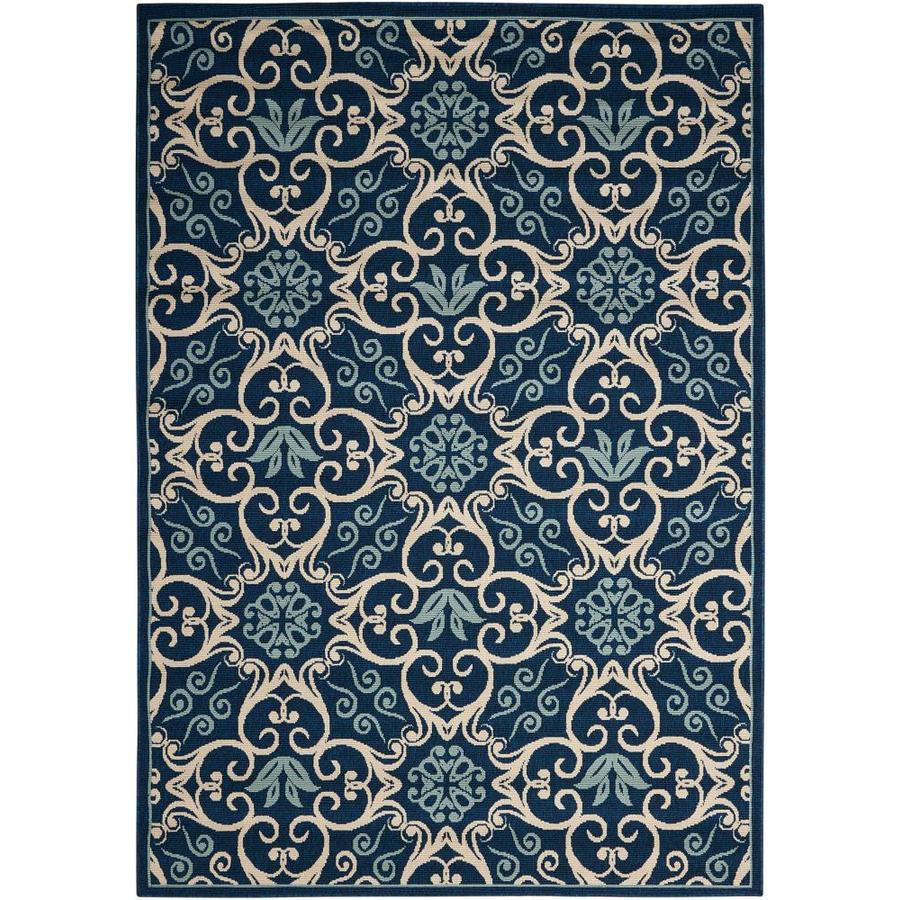Nourison Caribbean Navy Rectangular Indoor/Outdoor Area Rug (Common: 9 x 13; Actual: 9.25-ft W x 12.75-ft L x 0.25-ft dia)