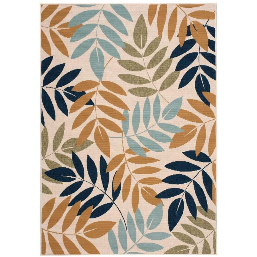 Nourison Caribbean Ivory Rectangular Indoor/Outdoor Area Rug (Common: 5 x 7; Actual: 5.25-ft W x 7.42-ft L x 0.25-ft dia)