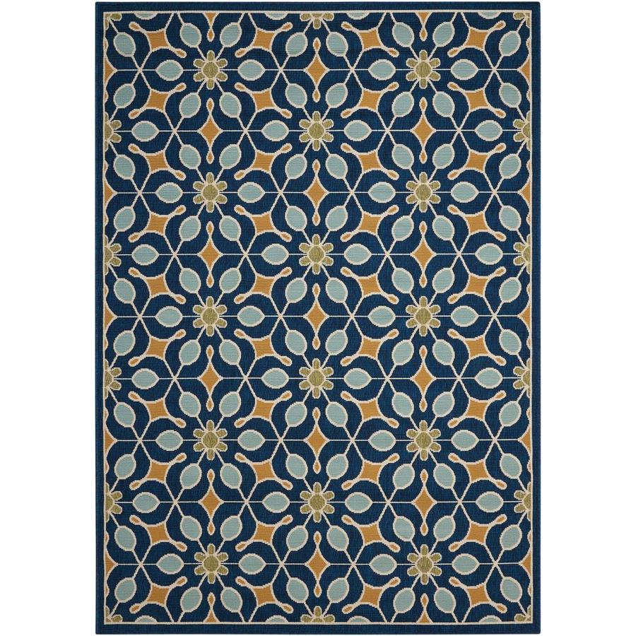 Nourison Caribbean Navy Rectangular Indoor/Outdoor Area Rug (Common: 8 x 10; Actual: 7.83-ft W x 10.5-ft L x 0.25-ft dia)