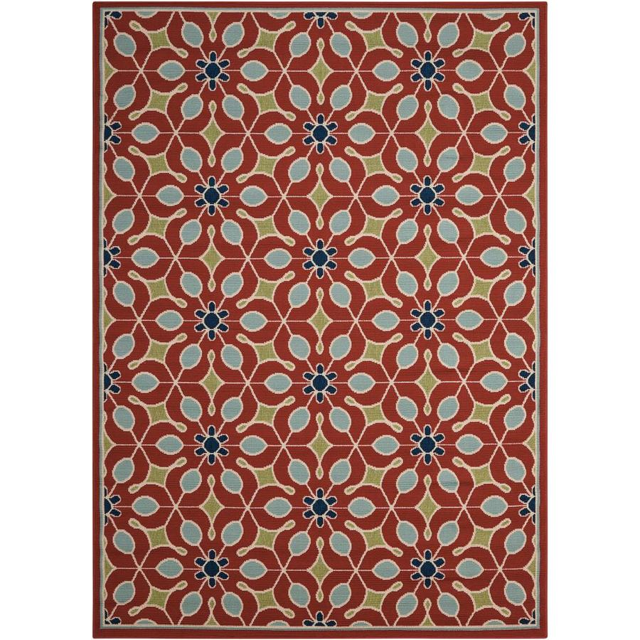 Nourison Caribbean 5 X 7 Rust Indoor Outdoor Abstract Coastal Area Rug In The Rugs Department At Lowes Com