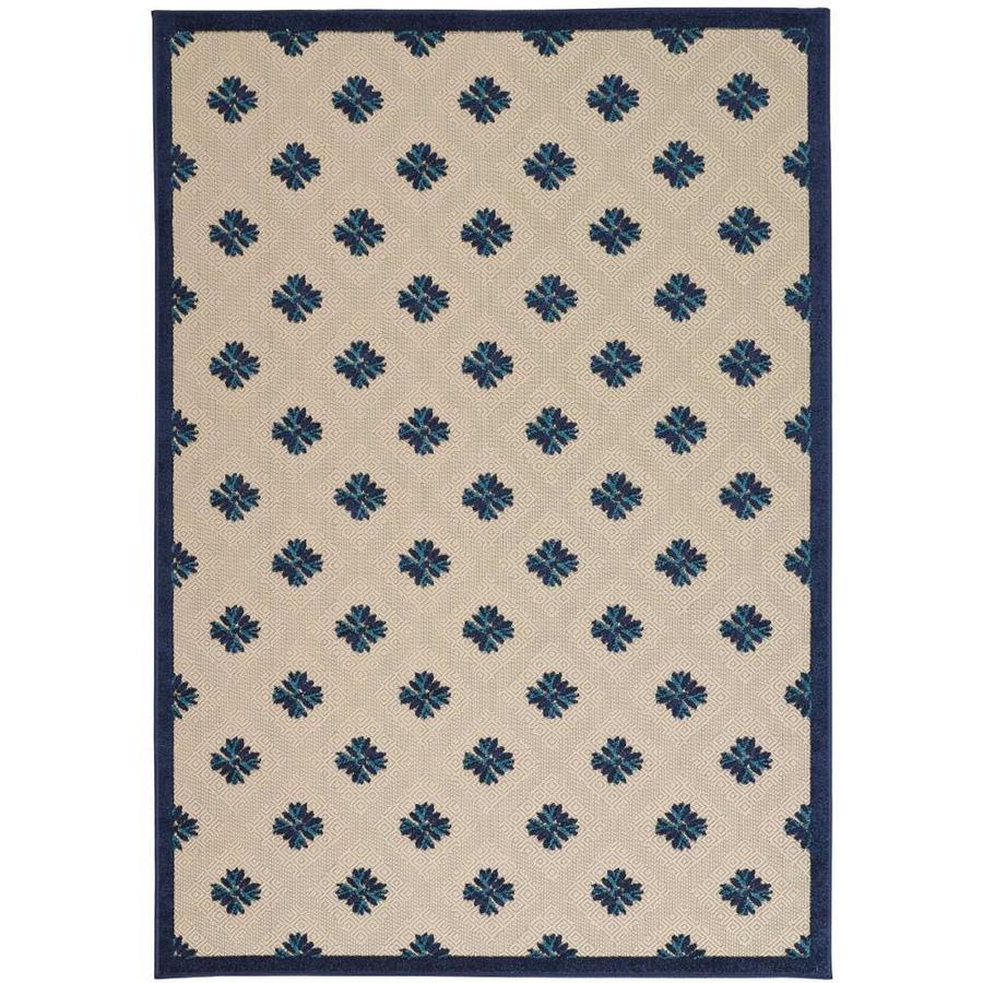 Nourison ALOHA Navy Rectangular Indoor/Outdoor Machine Woven Outdoor Area Rug (Common: 3 x 5; Actual: 3-ft W x 5-ft L)