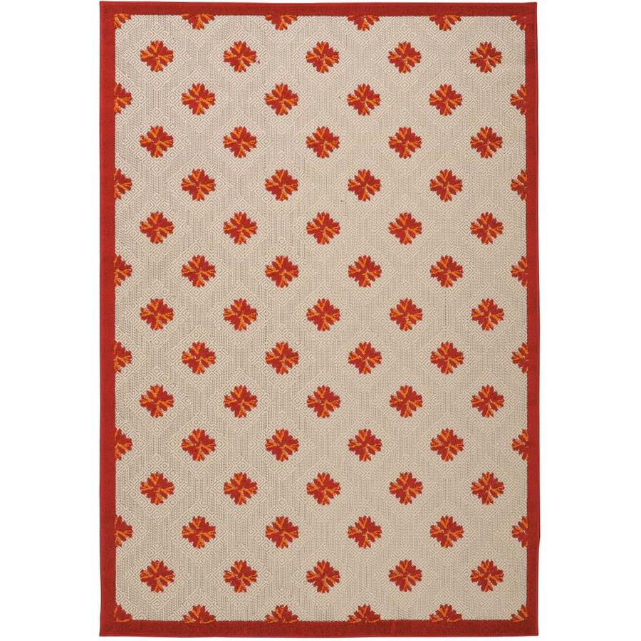 Nourison Aloha Red Rectangular Indoor/Outdoor Area Rug (Common: 9 x 13; Actual: 9.5-ft W x 13-ft L x 0.25-ft dia)
