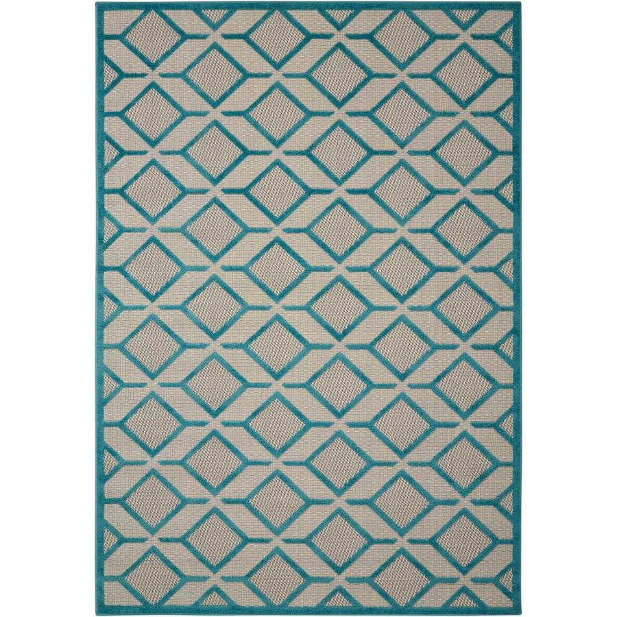 Nourison Aloha Blue Indoor Outdoor Area Rug Common 8 X 10 Actual