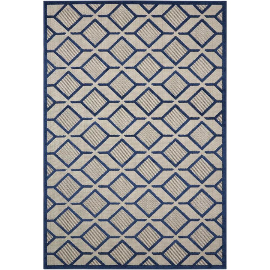 Nourison Aloha Navy Rectangular Indoor/Outdoor Area Rug (Common: 3 x 5; Actual: 3.5-ft W x 5.5-ft L x 0.25-ft dia)